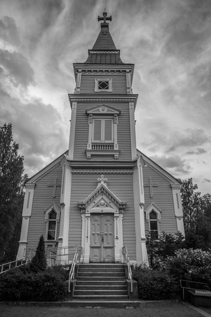 Wooden church in a village in Finland